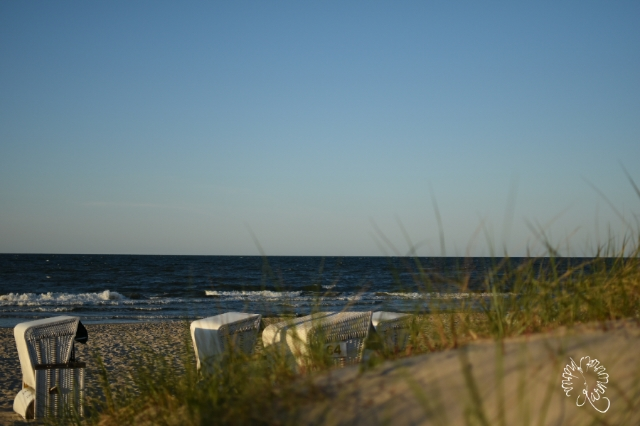 Blick über den Strand, kurz vor dem Sonnenuntergang