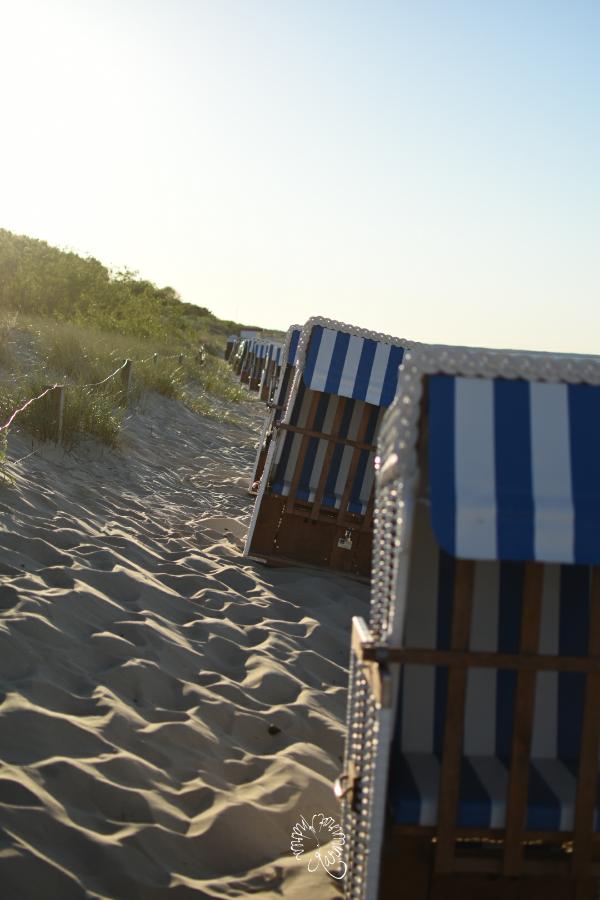 blau weiß gestreifte Strandkörbe am Deich